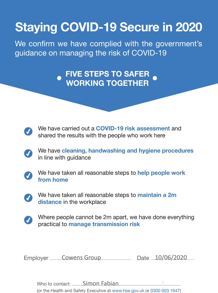 COVID-19 secure assessment